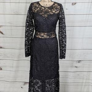 BISOU BISOU Black Lace Sequin Gown